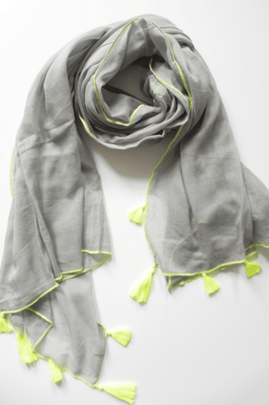 Alila grey cotton scarf / sarong with yellow neon trim - Halia Rose