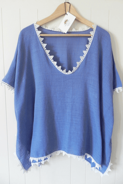 Meno cotton kaftan - coastal blue - Halia Rose