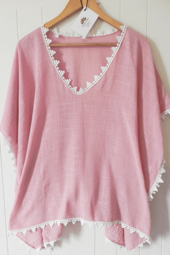 Meno cotton kaftan - blush pink - Halia Rose
