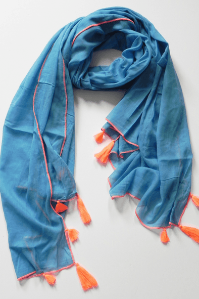 Alila blue cotton scarf / sarong with orange neon trim - Halia Rose