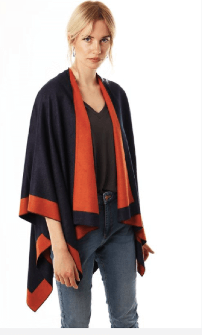 Halia_Rose_navy_orange_cape_Lifestyle_clothing_winter_breastfeeding_maternity