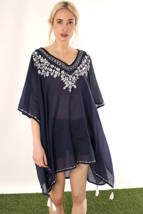 Halia_Rose_capri_navy_cotton_kaftan_white_floral_embroidery_beach_maternity_breastfeeding