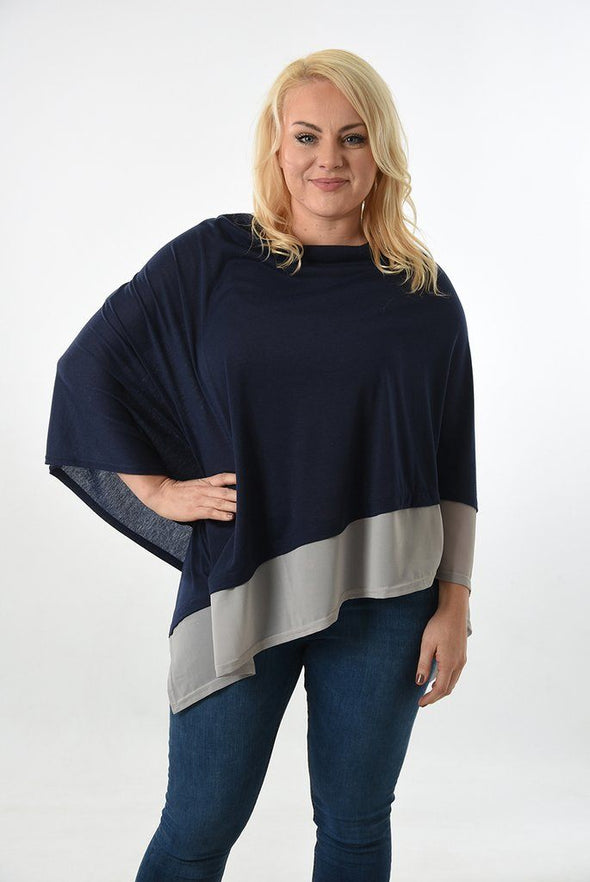 Halia_Rose_Navy_cotton_poncho_grey_trim_breastfeeding_clothing