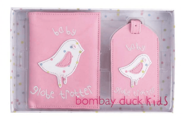 Baby Passport Cover and Luggage Tag Gift Set - Pink Bird - Halia Rose