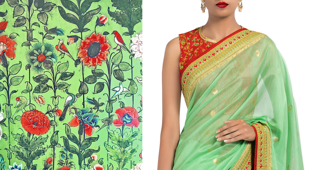 Nile Chanderi Sari with Hand Embroidered Blouse Piece