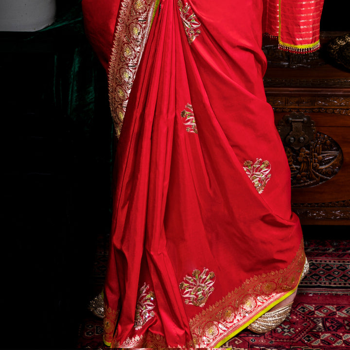 'The Red Tulip' silk Banarasi sari