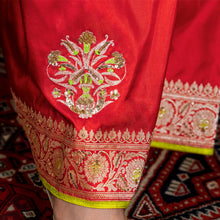 'The Red Tulip' silk Banarasi sari with unstitched silk blouse piece