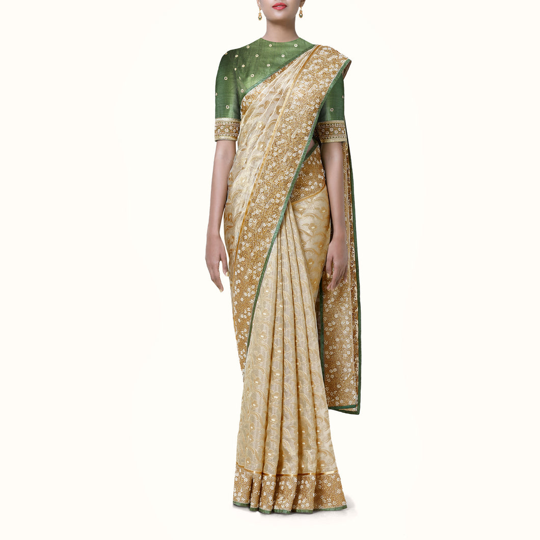 'Shimmer of Taj' Silk-Organza Banaras Sari with Hand-Embroidered Blouse Piece