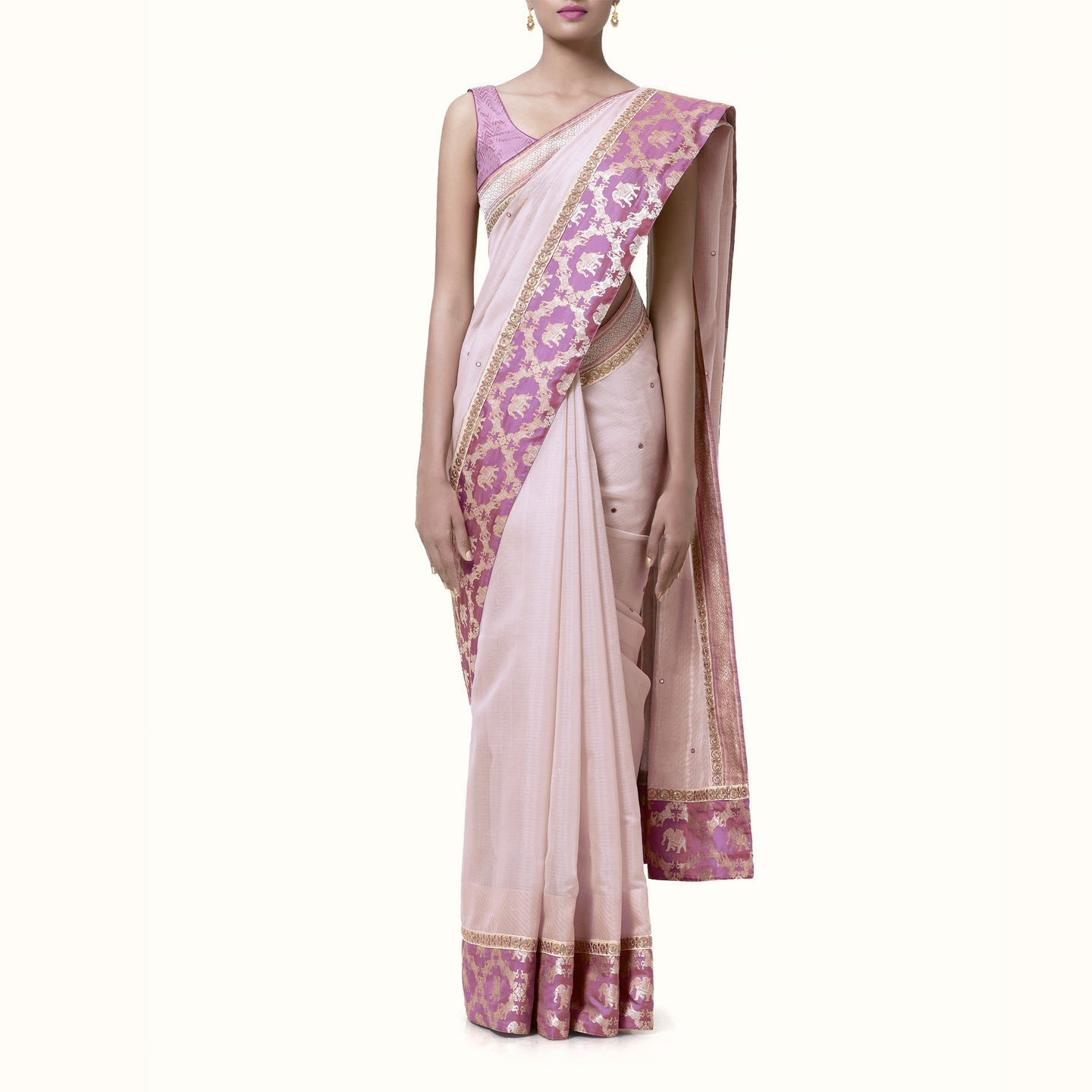 'Scent of Love' Hand-Woven Silk Cotton Sari with Hand-Embroidered Blouse Piece