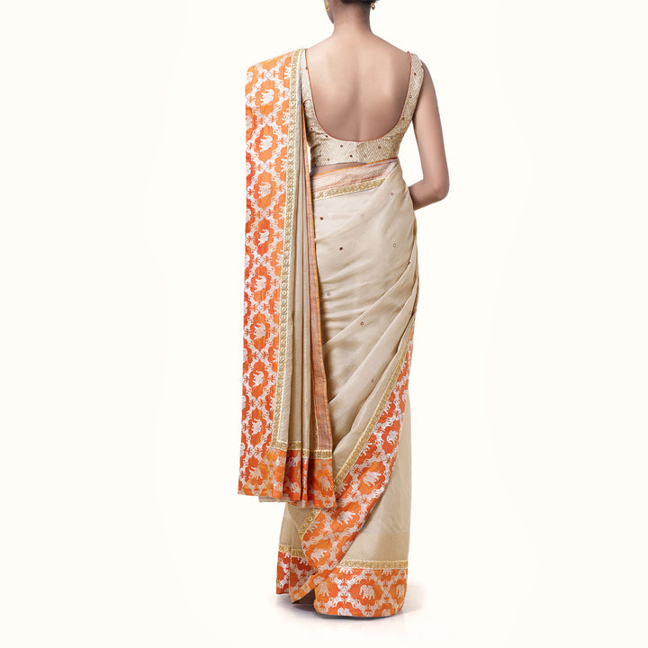 'Agra' Handwoven Silk Cotton Sari With Embroidered Blouse Piece