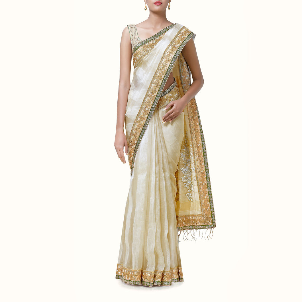 'Immortal Love' Handwoven Chanderi Sari with Embroidered Blouse Piece