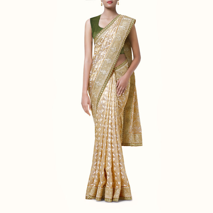 'Luminous Jewel' Silk-Organza Banaras Sari With Blouse Piece