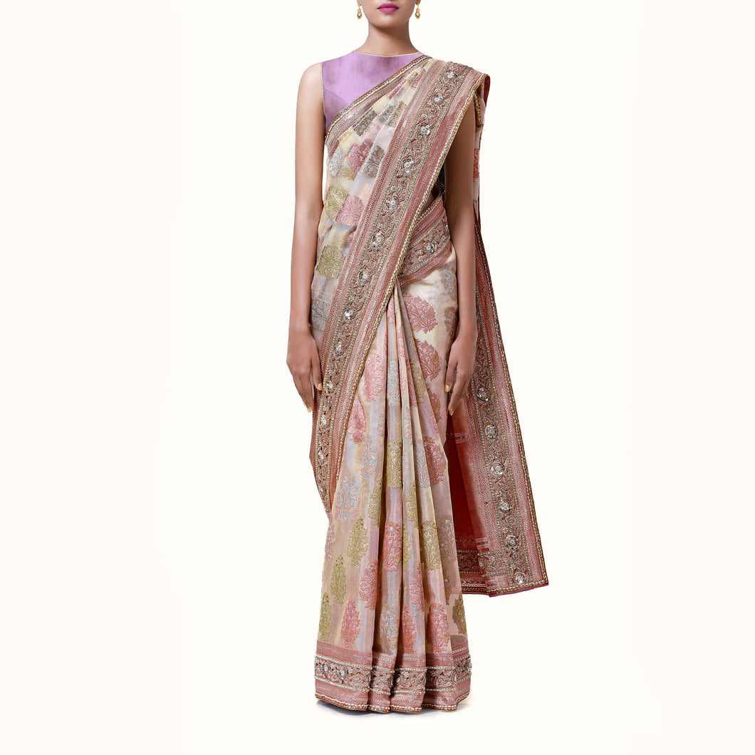 'Moonlight Garden' Silk-Organza Banaras Sari With Blouse Piece