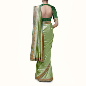 'Forever' Silk-Brocade Banaras Sari With Embroidered Blouse Piece