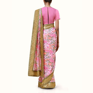 'Rose Gold' Floral Print Silk Chiffon Sari With Blouse Piece