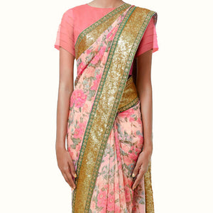 'Spring Flowers' Floral Print Silk Chiffon Sari With Blouse Piece