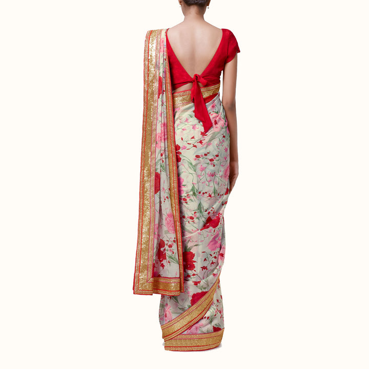 'Irises & Roses' Floral Print Silk Chiffon Sari With Blouse Piece