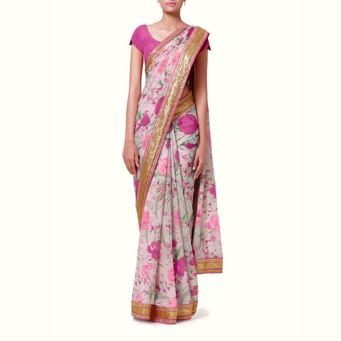 'Secret Garden' Floral Print Silk Chiffon Sari With Blouse Piece
