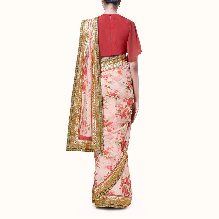 'Petals On The Wind' Floral Print Silk Chiffon Sari With Blouse Piece