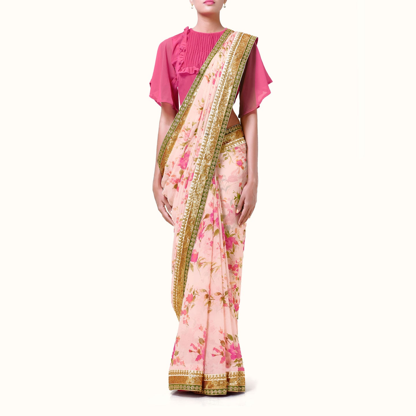 'Summer Roses' Floral Print Silk Chiffon Sari With Blouse Piece