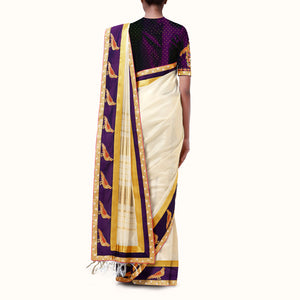 'Golden Parrots' Silk-Cotton Sari with Hand-Embroidered Blouse Piece