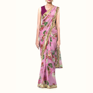 'Summer blooms' Floral Print Silk Chiffon Sari With Blouse Piece