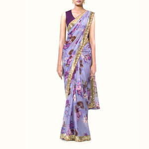'Monet's Ultraviolet' Floral Print Silk Chiffon Sari With Blouse Piece