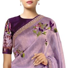 'An Eastern Summer' embroidered linen Sari with blouse piece