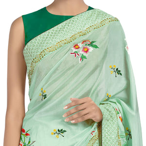 'Jade Terrace' embroidered silk-cotton Sari with blouse piece