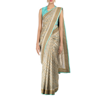 Aqua Mist - Chanderi Sari with Hand-Embroidered Blouse Piece