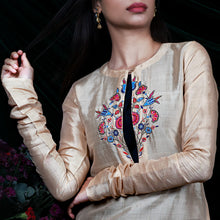 'Secret of a tulip' Beige Handloom Silk-Cotton Kurti and Black Pants Set