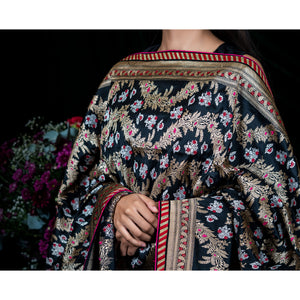 'Black Swan' Handloom embroidered silk Banarasi dupatta from Urvii Mantreh by Shimai