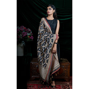 'Black Swan' Handloom embroidered silk Banarasi dupatta by Shimai