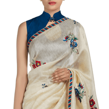 'Blue Moon Harvest' embroidered linen Sari with blouse piece
