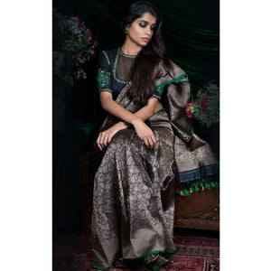 'Dancing Leaves' Hand-embroidered Banarasi handloom sari by Urvii Mantreh
