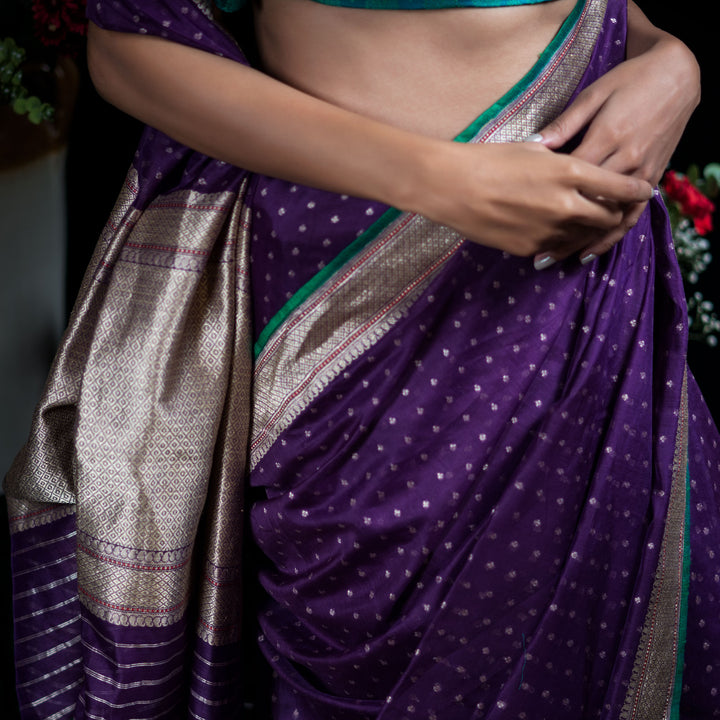 'Dance of the Jewel Beetle' Banarasi Silk Cotton Sari