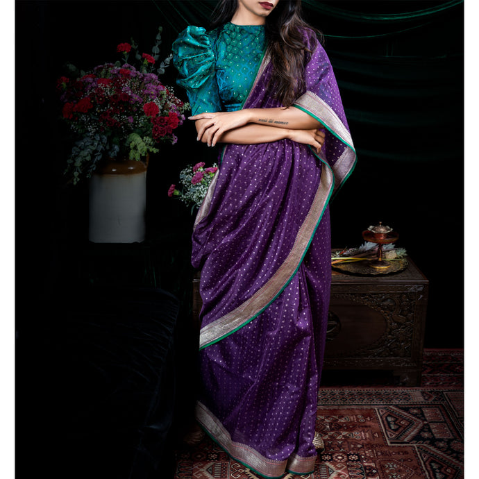 'Dance of the Jewel Beetle' Banarasi silk cotton sari with sea green plain unstitched blouse