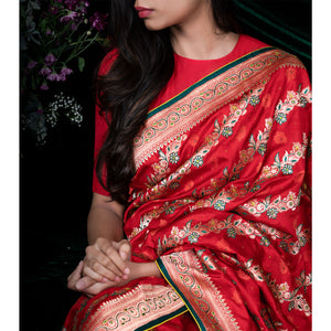 Garden of My Heart - Banarasi katan silk sari with plain unstitched silk blouse