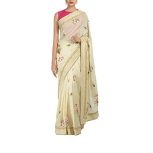 'Garden of Paradise' embroidered silk-cotton sari with blouse piece
