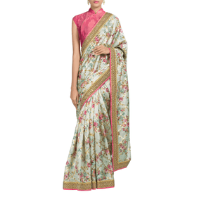 'Golden Trellis' embroidered jute-silk Sari with blouse piece