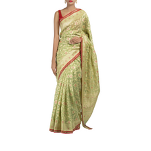 Jade Banaras Sari with Silk-Cotton Blouse Piece
