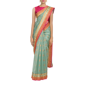 Jewel of the Sea Chanderi Sari with Silk-Cotton Blouse Piece