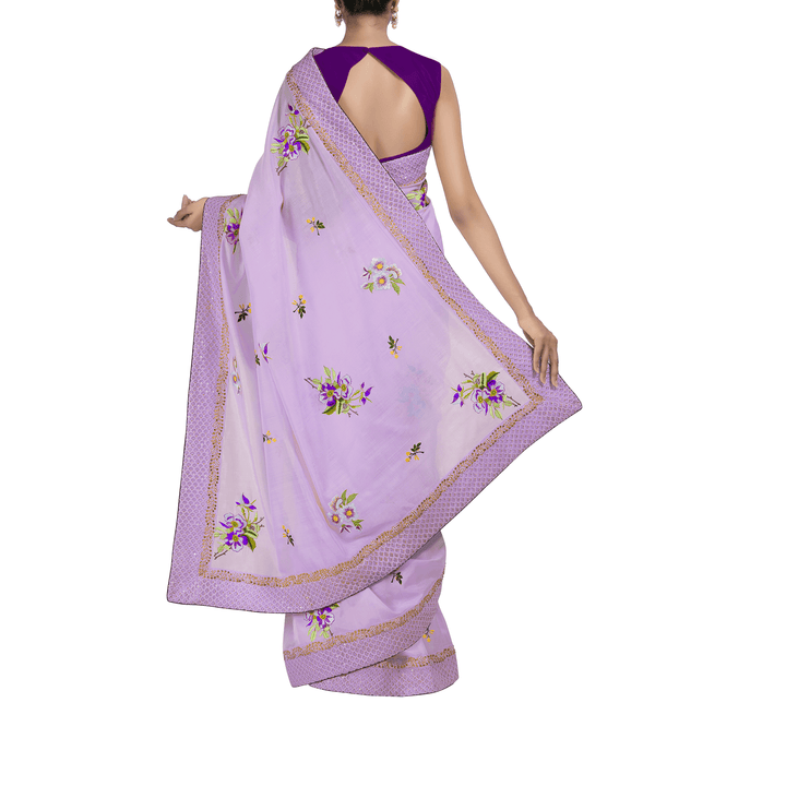 'Lavender Pavilion' embroidered silk-cotton Sari with blouse piece