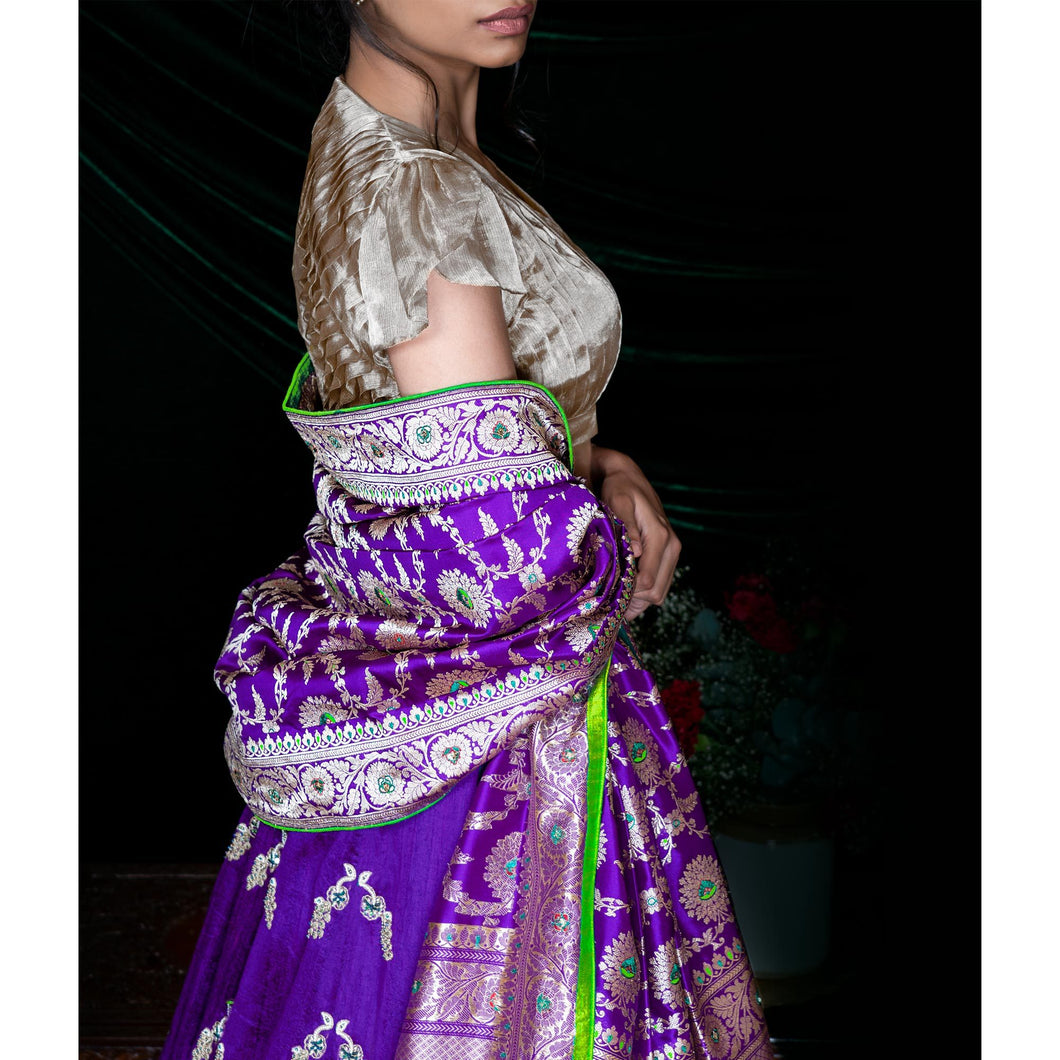 'Lillies In Moonlight' hand embroidered silk lehenga skirt and tissue blouse