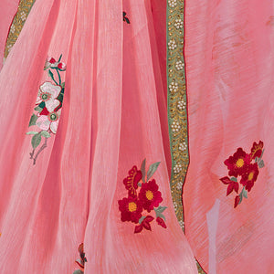 'Mandarin Rose' embroidered linen Sari with blouse piece