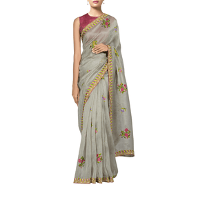 'Mist of the moon night' embroidered silk-linen Sari with blouse piece