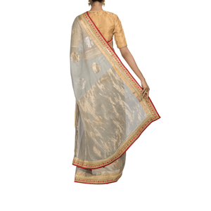 Moon Dust Chanderi Sari with Silk-Tissue Blouse Piece