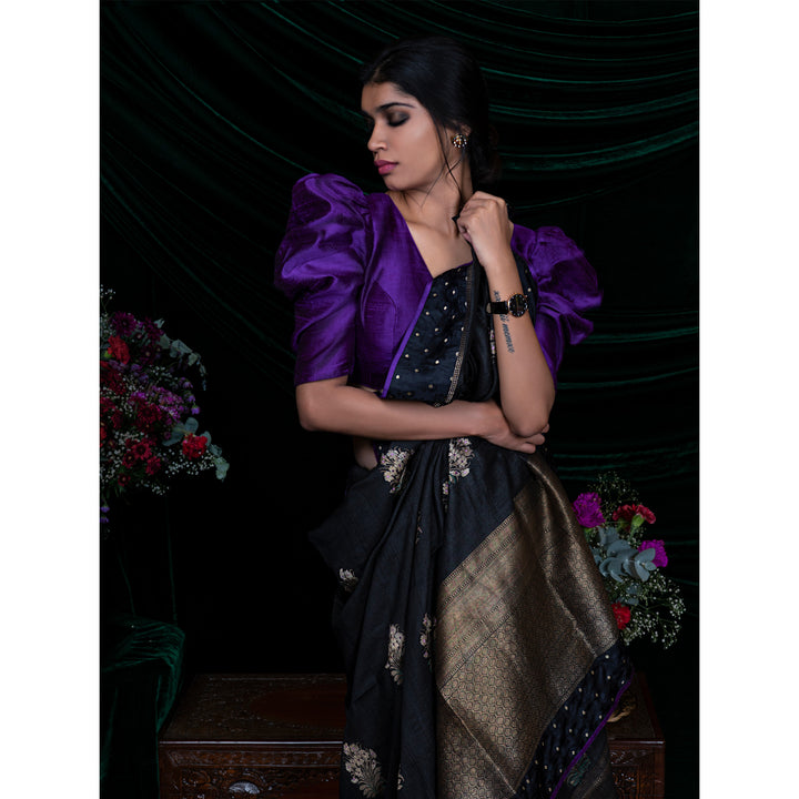 'Black Forest' tussar silk hand-embroidered banarasi sari with raw silk unstitched blouse piece
