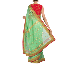 Nile Chanderi Sari with Hand-Embroidered Blouse Piece