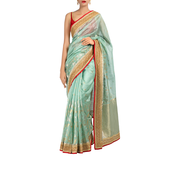 Ocean Breeze Chanderi Sari with Silk-Cotton Blouse Piece
